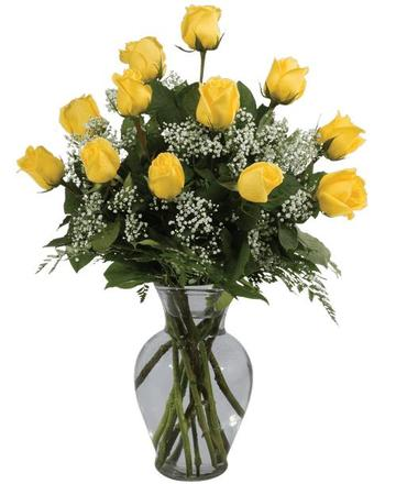 Dozen Yellow Rose Arrangement