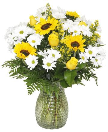 Sunflower, Rose & Daisy Vase